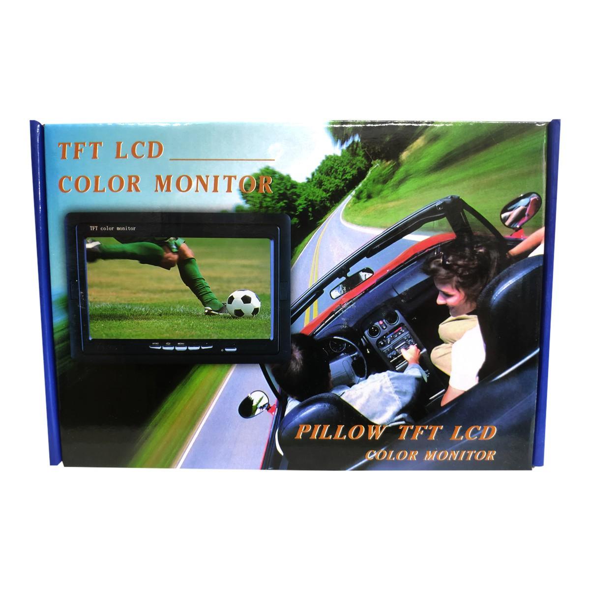 """Tela Monitor 7"""" LCD Colorido, 2 entradas de vídeo (2 AV-in), para Segurança, Carro, Câmera de Ré  - Tudo Forte"""