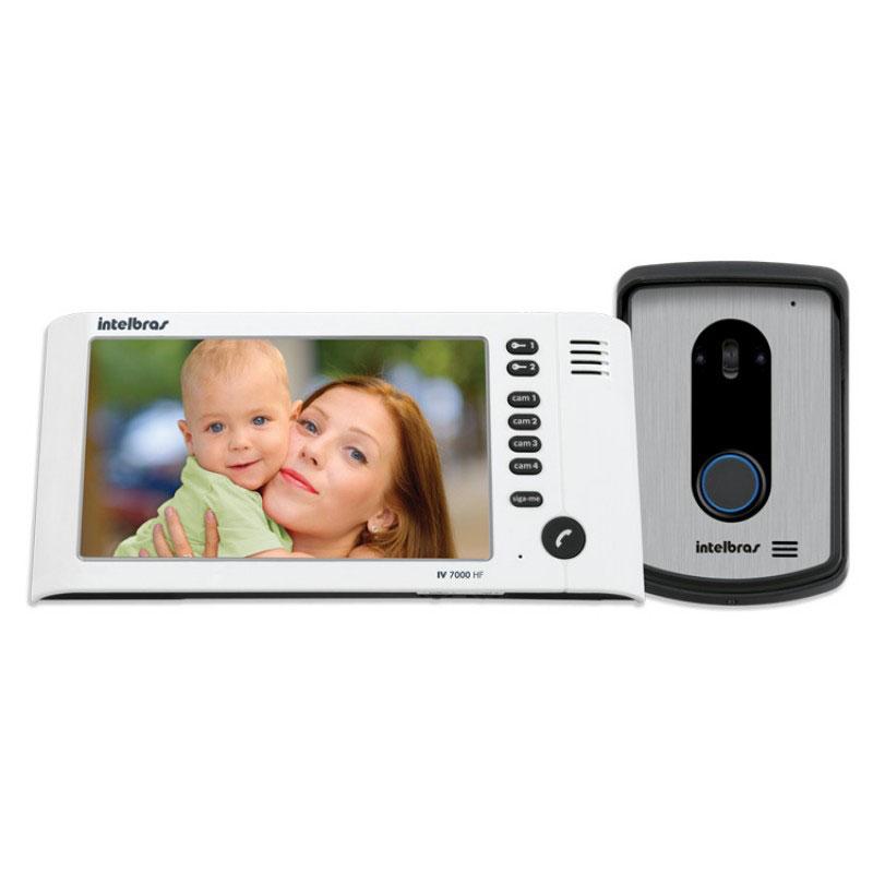 """Kit Vídeo Porteiro Interfone Intelbras IV 7010 HF Viva Voz, Visualiza até 04 Cameras, Atende por Celular, abre 2 portões, Tela LCD 7""""  - Tudo Forte"""