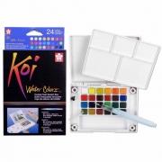 Aquarela 24 Cores Koi Water Colors Com Pincel Brush Xncw-24N 29368