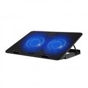 """Suporte Para Notebook C3 Tech Preto Com 2 Coolers Com LED Azul 15,6"""" NBC-50Bk 29644"""