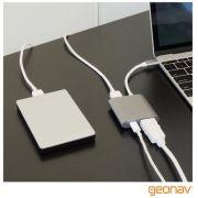 Cabo Adaptador Com Saídas HDMI, USB 3.1 E USB-C Cinza Geonav - Uca04  24739
