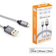 Cabo Lightning / USB 8 Pinos 1,5 Metros Revestido de Nylon Trançado Geonav LIGH10T 24212