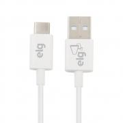 Cabo USB Tipo C ELG 1M Branco TCUSB 28687
