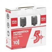 Cabo VGA Macho X VGA Macho Com Filtro 10M Preto 5+ 018-9570 29572