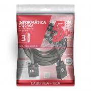Cabo VGA Macho X VGA Macho Com Filtro 3M Preto 5+ 018-9518 29570