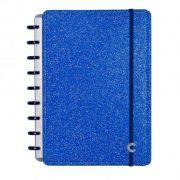 Caderno Inteligente Médio Folhas Glitter Blue CIMD3051 28086