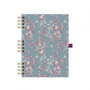 Caderno Otima Floral Capa Dura 177X240 90 Fls Azul Espiral 177 4191-5 23217