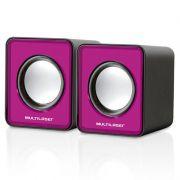 Caixa de Som 2.0 Mini 3W Rms USB Rosa Sp198 Multilaser 22807