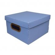 Caixa Organizadora Dello 25X25X15Cm P Linho Azul 2204.B 26188