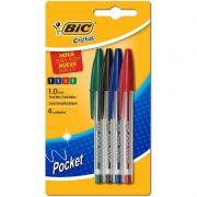 Caneta Esferografica Bic Cristal Pocket Verde + Preto + Azul + Vermelha 1106283 15590
