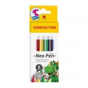Caneta Hidrocor Compactor 6 Cores Neo-Pen Mirim 12634
