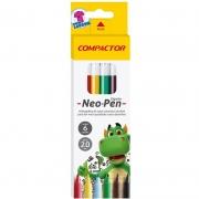 Caneta Hidrográfica Compactor 6 Cores Neo-Pen Gigante 02804