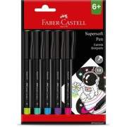 Caneta Hidrográfica Fine Pen 5 Cores Supersoft Bpss/Es5Zf Faber-Castell 30213