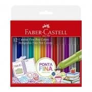 Caneta Hidrográfica Fine Pen Faber-Castell 12 Cores FPB/ES1ZF 27636