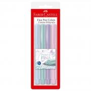 Caneta Hidrográfica Fine Pen Faber-Castell 4 Cores Tons Pastel Fpb/Tpzf 26416