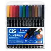 Caneta Pen Brush CiS Dual Brush 12 Cores 56.7200 27349