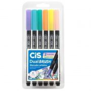 Caneta Pen Brush CiS Dual Brush 6 Cores Pastel 58.0100 27295