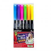 Caneta Pen Brush Newpen Pincel 6 Cores Neon Yasmin Galvao 17.072 28497