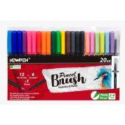 Caneta Pen Brush Newpen Ponta Pincel 20 Cores Sortidas 17.039 28495