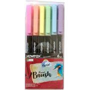 Caneta Pen Brush Newpen Ponta Pincel 6 Cores Sortido Pastel 17.032 28491