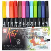Caneta Pen Brush Sakura Koi Coloring Brush 12 Cores XBR-12 27394