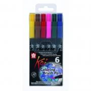Caneta Pen Brush Sakura Koi Coloring Brush 6 Cores XBR-6B1 27395