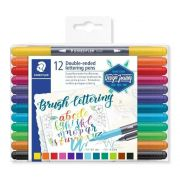 Caneta Pen Brush Staedtler Dual Brush 12 Cores 3004 Tb12 02 28825