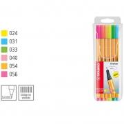 Caneta Stabilo Point 88/6-1 Fine 0.4 Extrafina 6 Cores Neon 55.5300 24700