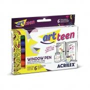 Canetinha Para Vidro Window Pen Acrilex 6 Cores 06106 19856