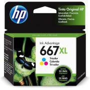 Cartucho de Tinta HP 667 XL Colorido Original (3YM80AL) 29292