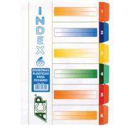 Divisória para Fichário ACP A4 (225X310) PP Index Universitário 6 Divisórias Coloridas  02029