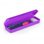 Estojo Escolar Plástico Waleu Plus Roxo 10080016 25088