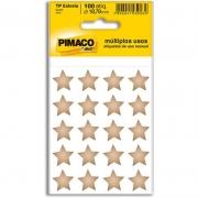 Etiqueta Pimaco Autoadesiva Estrela Ouro Com 100 Un 935261 22407