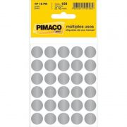 Etiqueta Pimaco Autoadesiva TP-16 Prata Redonda 16Mm Com 150 Un TP16 14432