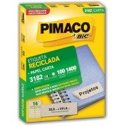 Etiqueta Pimaco Laser (6182) Reciclada 1400 Un 33,9X101,6mm 3182 17195