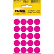 Etiqueta Pimaco Tp 19 Fl-M Magenta Redonda 10685