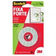 Fita Dupla Face 3M Scotch® Fixa Forte Espuma - Uso Interno - 24 mm x 1,5 m 11356