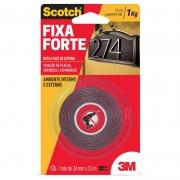 Fita Dupla Face 3M Scotch® Fixa Forte - Uso Externo - 24 mm x 1,5 m 15814
