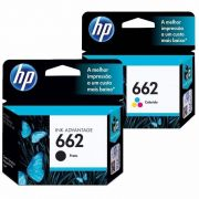 Kit Cartucho HP 662 Preto Original + Cartucho HP 662 Colorido Original