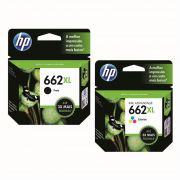 Kit Cartucho HP 662 XL Preto Original + Cartucho HP 662 XL Colorido Original