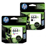 Kit Cartucho HP 664 XL Preto Original + Cartucho HP 664 XL Colorido Original