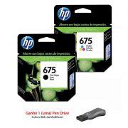 Kit Cartucho de Tinta HP 675 Preto + Cartucho de Tinta HP 675 Colorido
