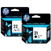 Kit Cartucho HP 21 Preto Original + Cartucho HP 22 Colorido Original