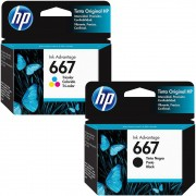 Kit Cartucho HP 667 Preto Original + Cartucho HP 667 Colorido Original