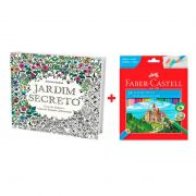 Kit Livro de Colorir Jardim Secreto +  Lápis de Cor 24 Cores Faber-Castell