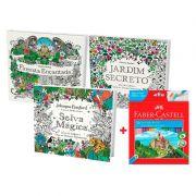 Kit Livro de Colorir Selva Mágica, Jardim Secreto, Floresta Encantada + Lápis de Cor 24 Cores Faber-Castell