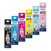 Kit Refil de Tinta Original Epson T673 Preto, Ciano, Magenta, Amarelo, Ciano Claro e Magenta Claro