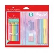 Kit Tons Pastel Faber-Castell Lápis de Cor + Caneta + Lápis + Apontador + Borracha Kit/Pastel 29839
