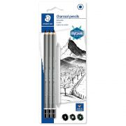 Lápis Carvão Staedtler Charcoal Pencils 3 Un. S M H + Esfuminho 100C Sbk4 29268