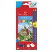 Lápis de Cor 12 Cores Sextavado Kit Escolar 120112+2 Faber-Castell 03204